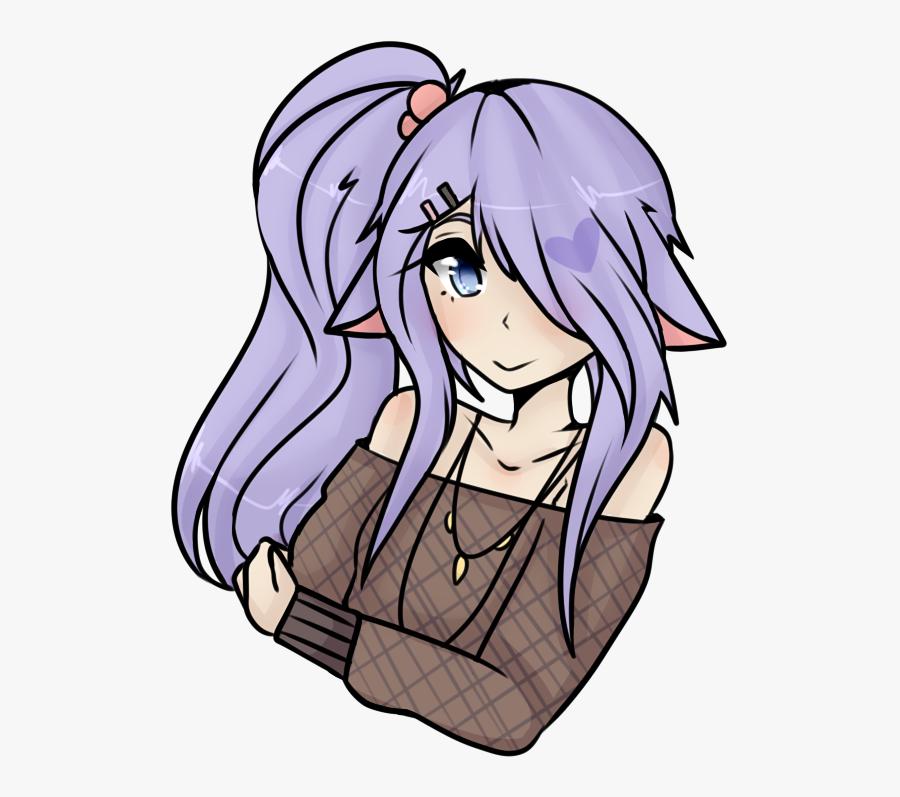 Clipart Free Stock Ponytail For Free Download On Mbtskoudsalg - Simple Neko Anime Girl, Transparent Clipart