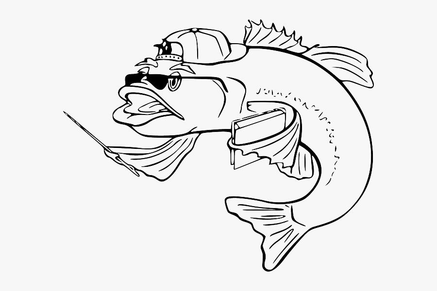 Black Teacher Outline White Cartoon Bass Fish Fish Clip