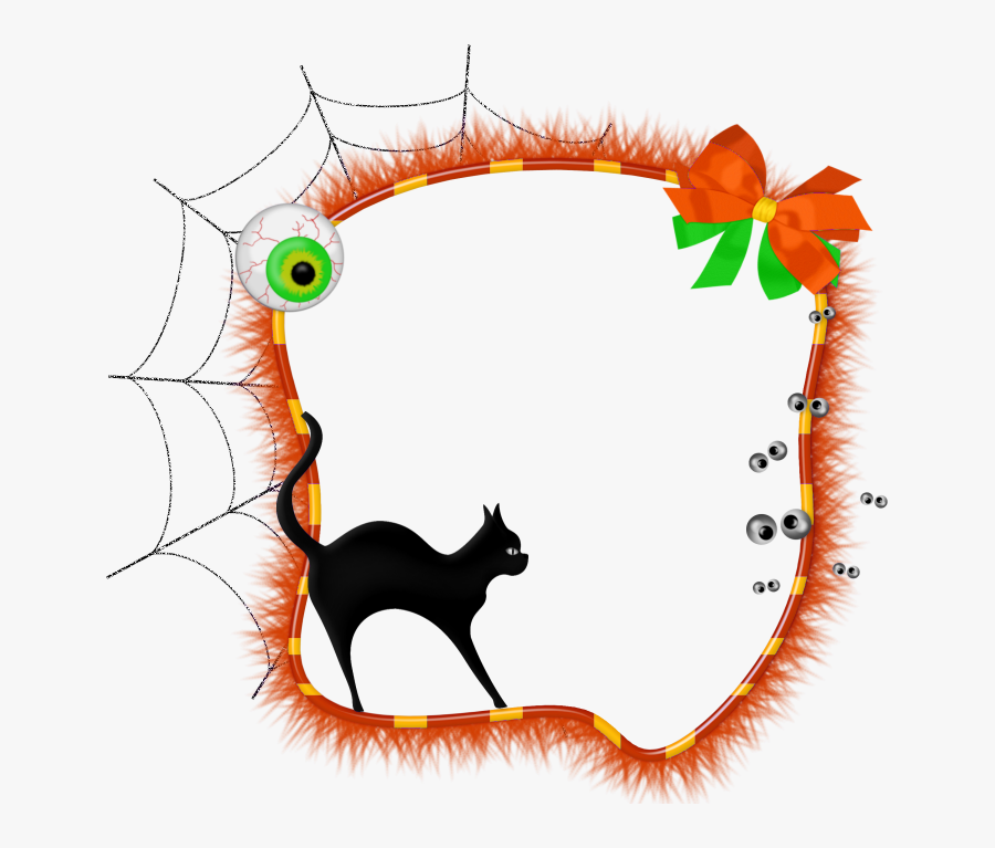Halloween Transparent Photo Frame With Black Cat - Frame Halloween, Transparent Clipart