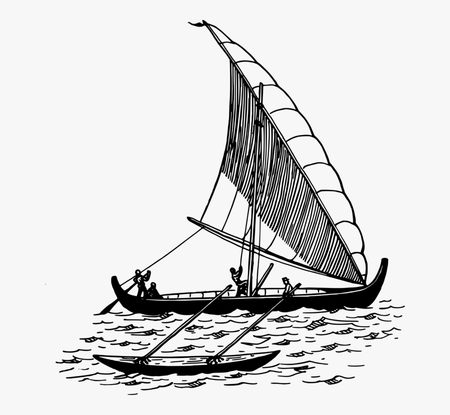 Caravel,monochrome Photography,baltimore Clipper - Sailing Boat With Outrigger, Transparent Clipart