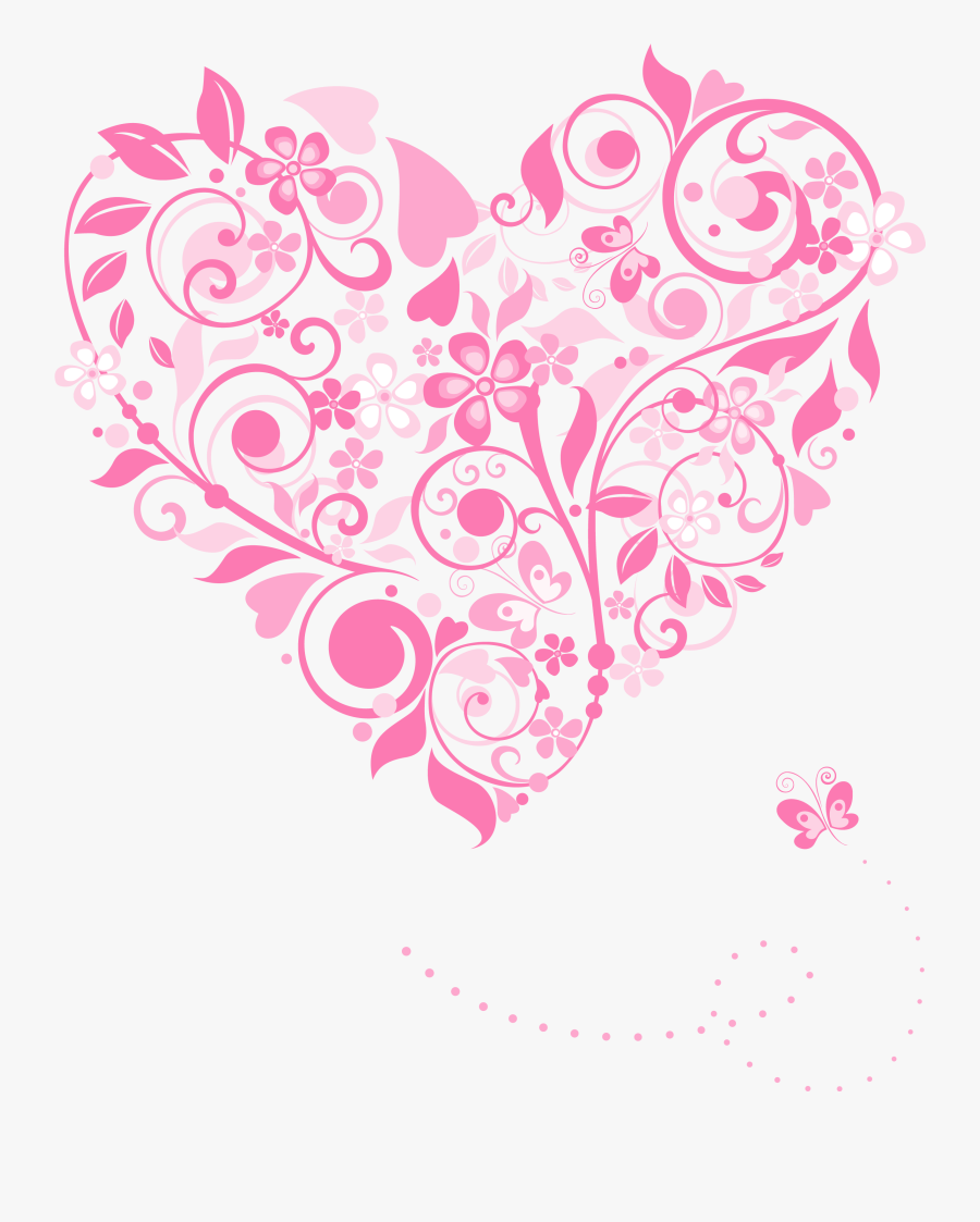 Clipart Hearts Decoration - Free Floral Heart Vector, Transparent Clipart