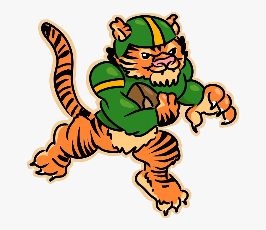 Vector Illustration Of Bengal Tiger Plays Football - Football Tiger Clip Art, Transparent Clipart