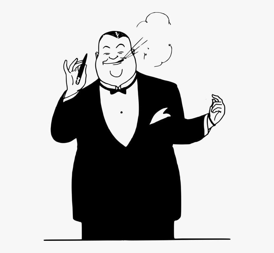 Emotion,art,monochrome Photography - Fat Man In Suit Cartoon, Transparent Clipart