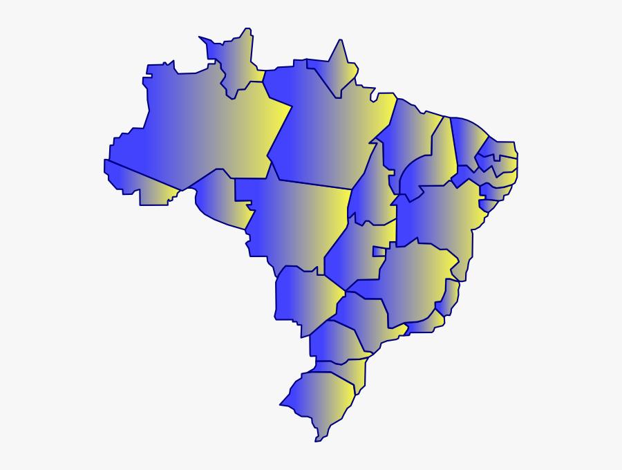 Map Of Brazil Svg Clip Arts - Mapa Do Brasil Vetor Png, Transparent Clipart