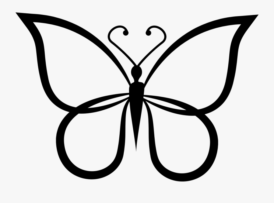 Butterfly Shape Outline Top View Comments - Butterfly Clipart Picture Black And White, Transparent Clipart