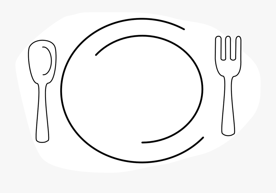 Black And White Plate Of Food Clipart, Transparent Clipart