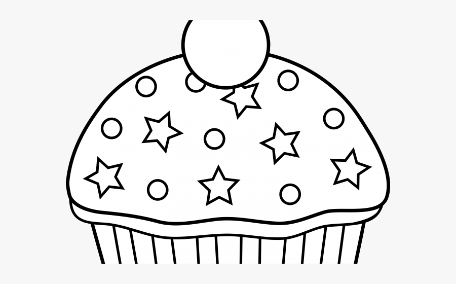 Vanilla Cupcake Clipart Clear Background - Cake Clipart Black And White Png, Transparent Clipart