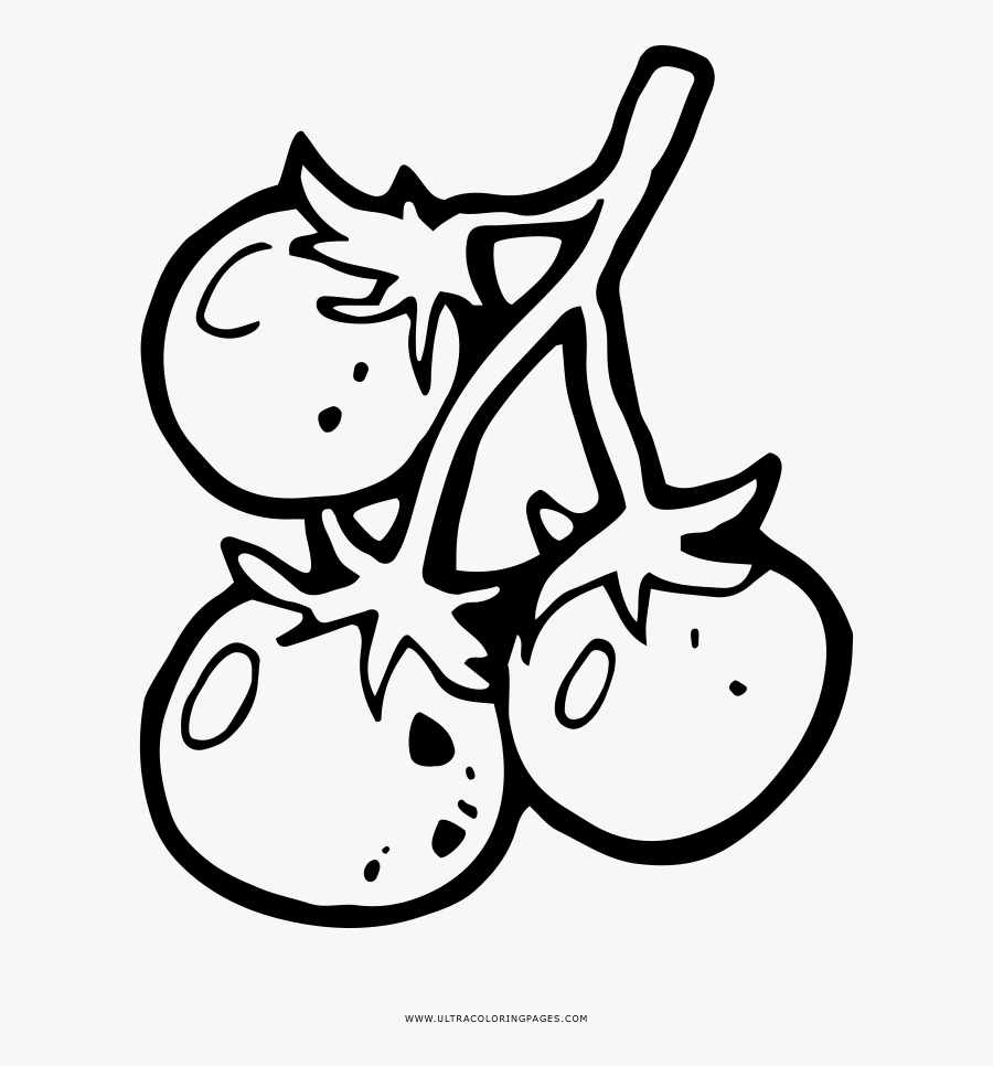 Cherry Tomatoes Coloring Page, Transparent Clipart
