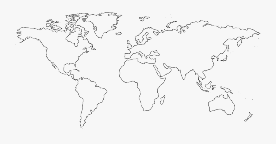 Transparent World Atlas Clipart - Simple Flat World Map, Transparent Clipart