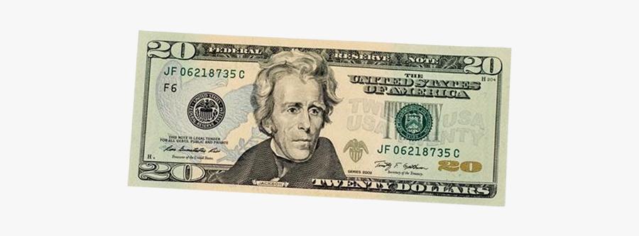 United States Twenty Dollar Bill Banknote United States - Symbols For Andrew Jackson, Transparent Clipart