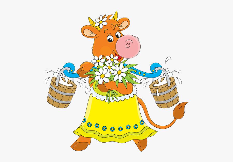 Корова С Ведром Молока Рисунок, Transparent Clipart