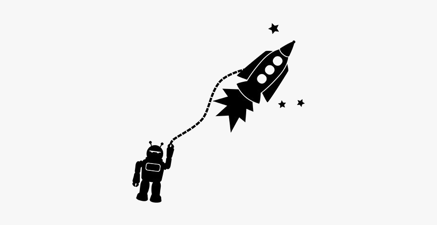 Silhouette Tattoo Black And White - Robot Rocket Silhouette Jpg, Transparent Clipart