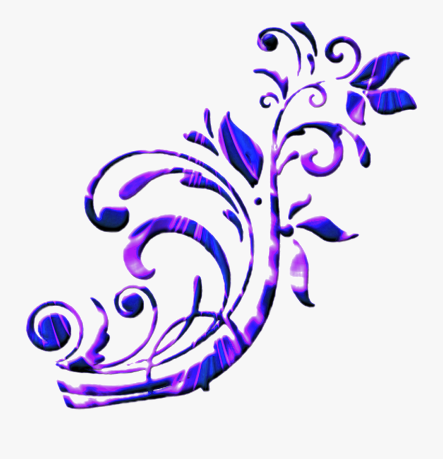 Scroll Purple Blue Swirl Border Frame - Border Purple Blue Design, Transparent Clipart