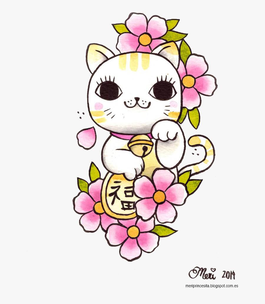 Maneki Neko Png Clipart - Lucky Cat Tattoo Design, Transparent Clipart