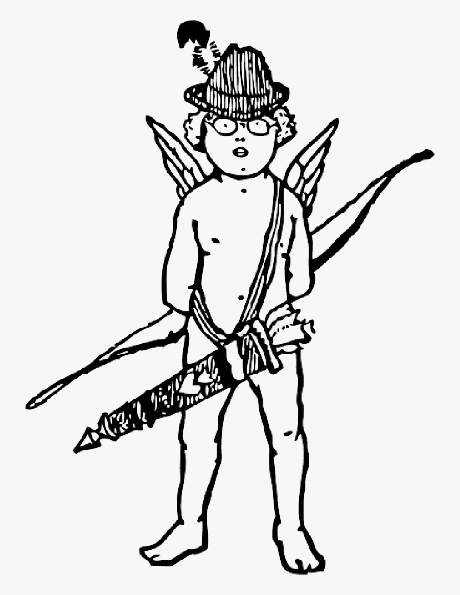 Black, Arrow, Boy, White, Hat, Wings, Bow, Cupid - Cupid, Transparent Clipart