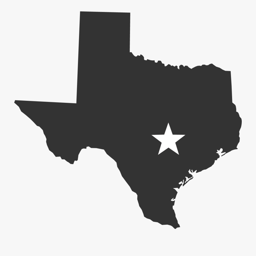 Texas Blank Map Clip Art - State Of Texas Black, Transparent Clipart