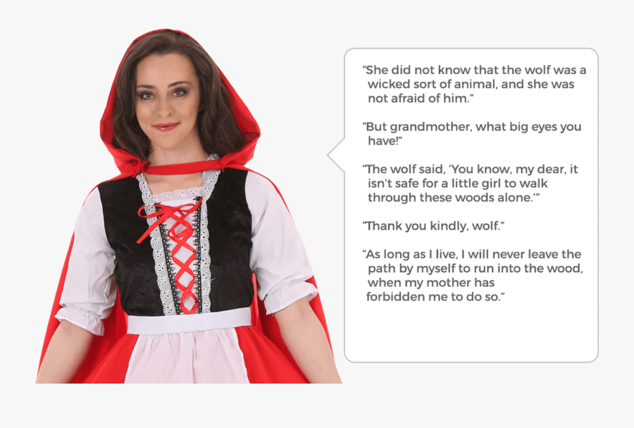 Clip Art Costumes Halloweencostumes Com Quotes - Lines Of Red Riding Hood, Transparent Clipart