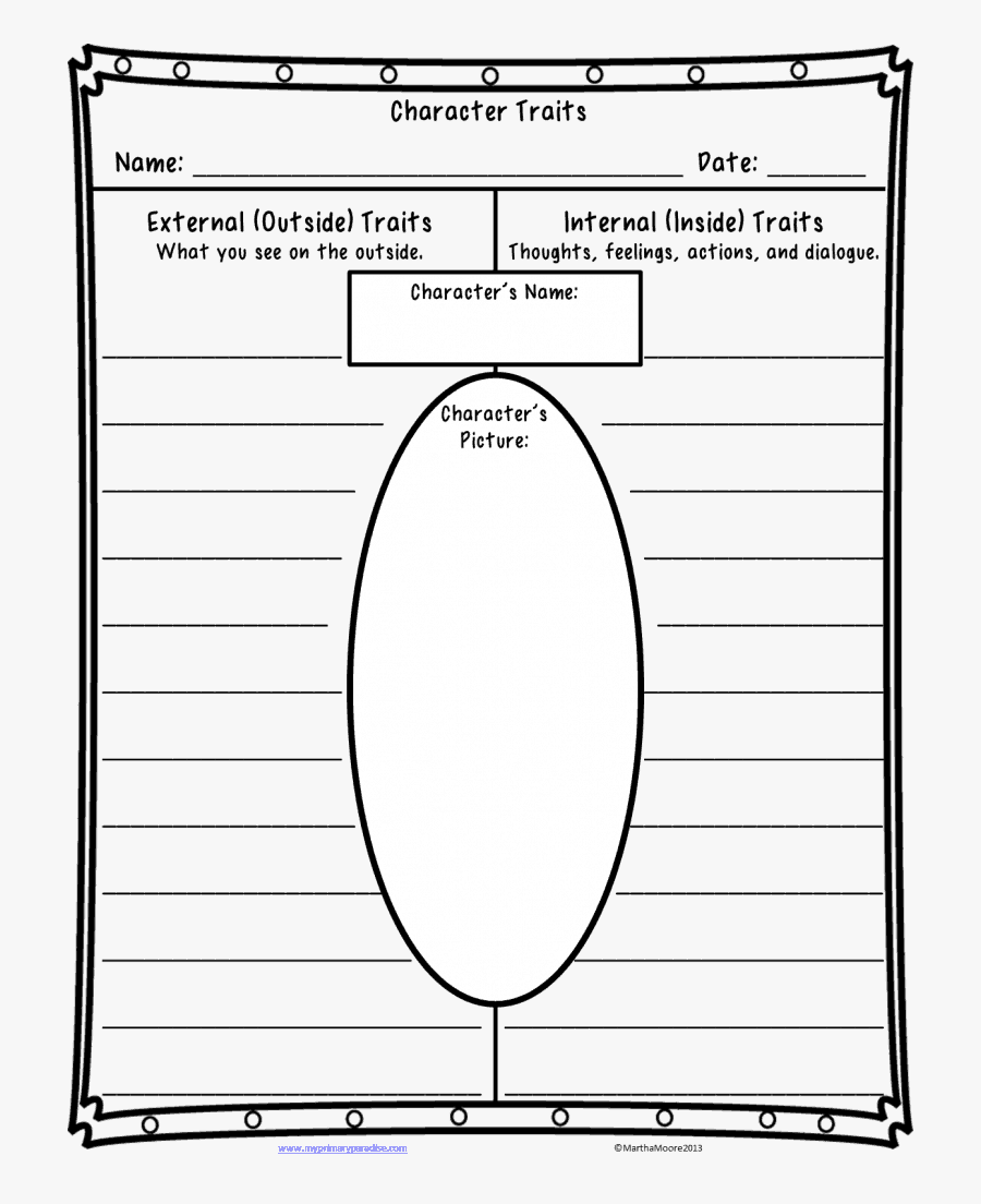 Free Character Traits Worksheet - Character Profile Template Year 5, Transparent Clipart