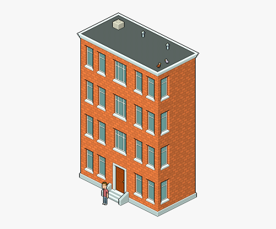 Pixel Art Isometric Building, Transparent Clipart