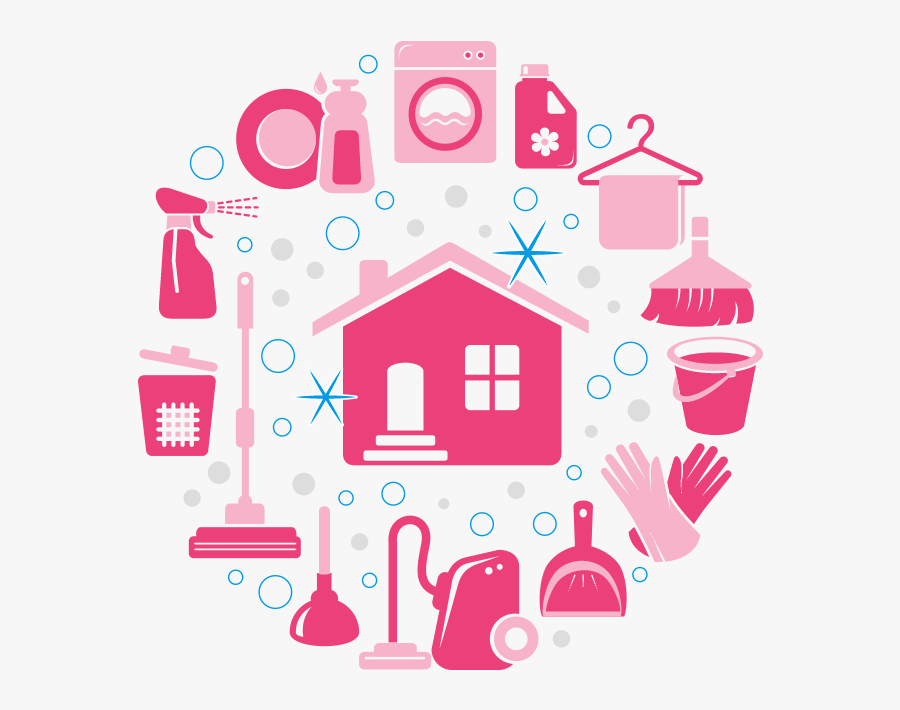 Graphic Of Cleaning Icons In Grid Format - Pink House Cleaning Png, Transparent Clipart