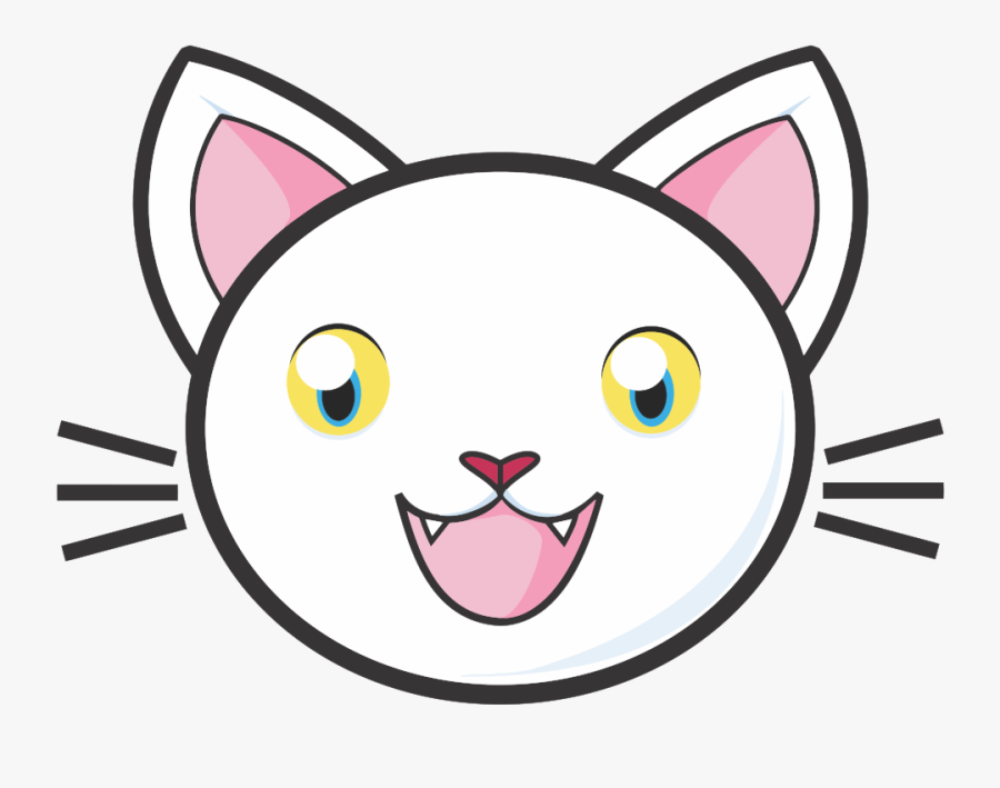 Eyes Clipart Cute - White Cat Face Clipart, Transparent Clipart