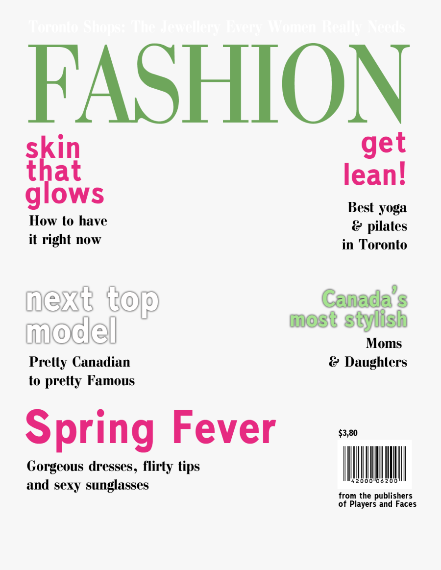 Clip Art Template Trisa Moorddiner Co - Fashion Magazine Cover Template Png, Transparent Clipart