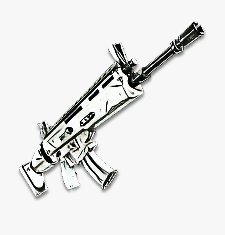 Gun - Black And White Fortnite Scar, Transparent Clipart