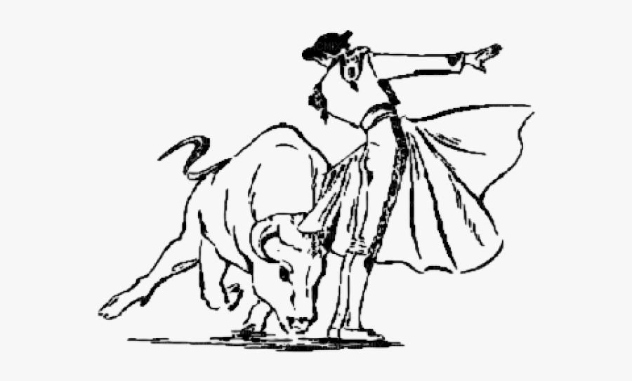 Easy Bull Fighting Drawing, Transparent Clipart