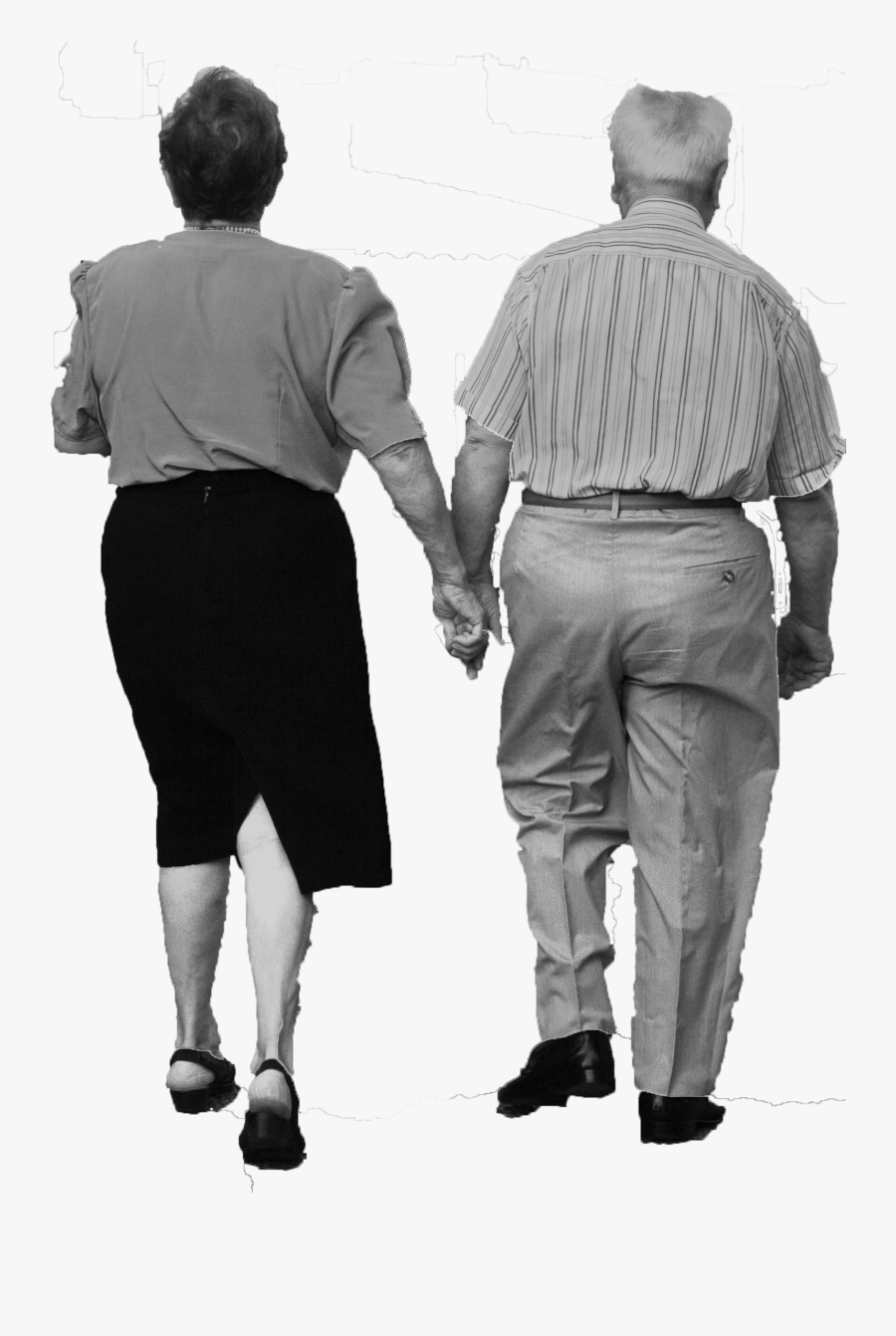 Old Couple Walking - Old Man Transparent Background, Transparent Clipart