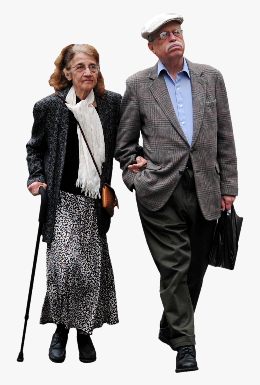 Transparent Old Couple Clipart - Architecture Old People Walking Png, Transparent Clipart