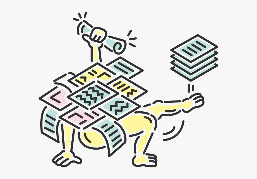 Illustration Of Fiona Covered In Papers Holding High, Transparent Clipart
