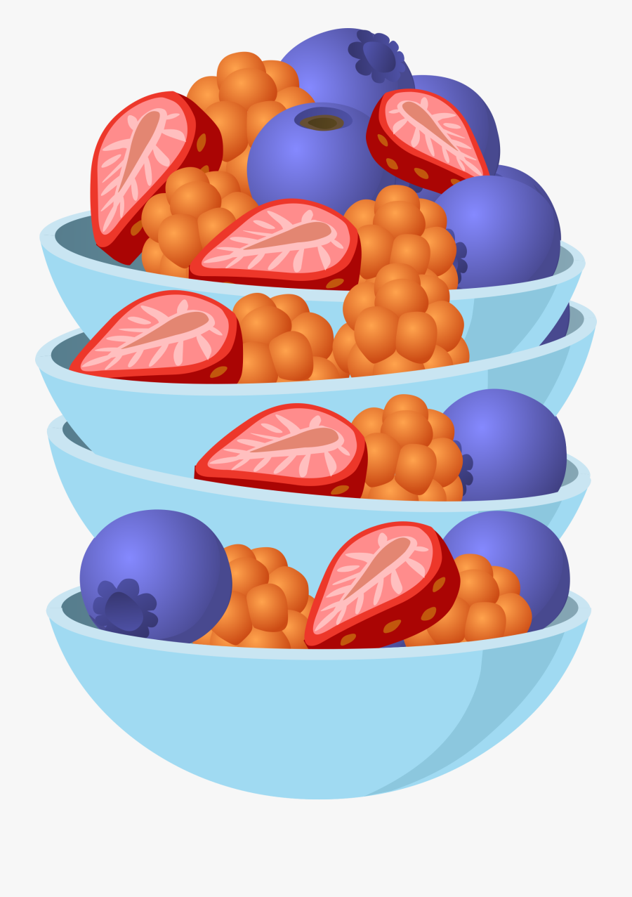 Food Berry Bowl Clip Arts - Fruit Salad Cartoon Transparent, Transparent Clipart