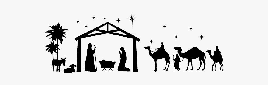 Clip Art Silhouette Manger Scene Clipart - Nativity Scene No Background, Transparent Clipart