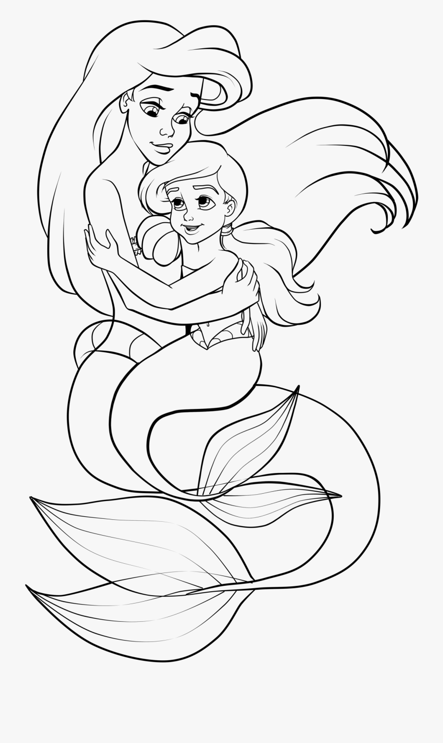 Mermaid Drawing Png - Melody Little Mermaid Coloring, Transparent Clipart