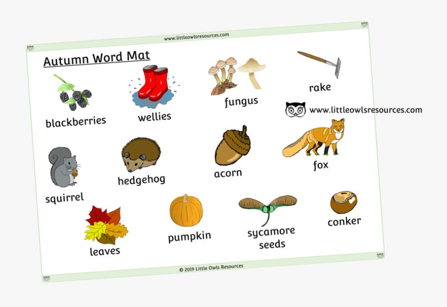 Autumn Word Mat - Cartoon, Transparent Clipart
