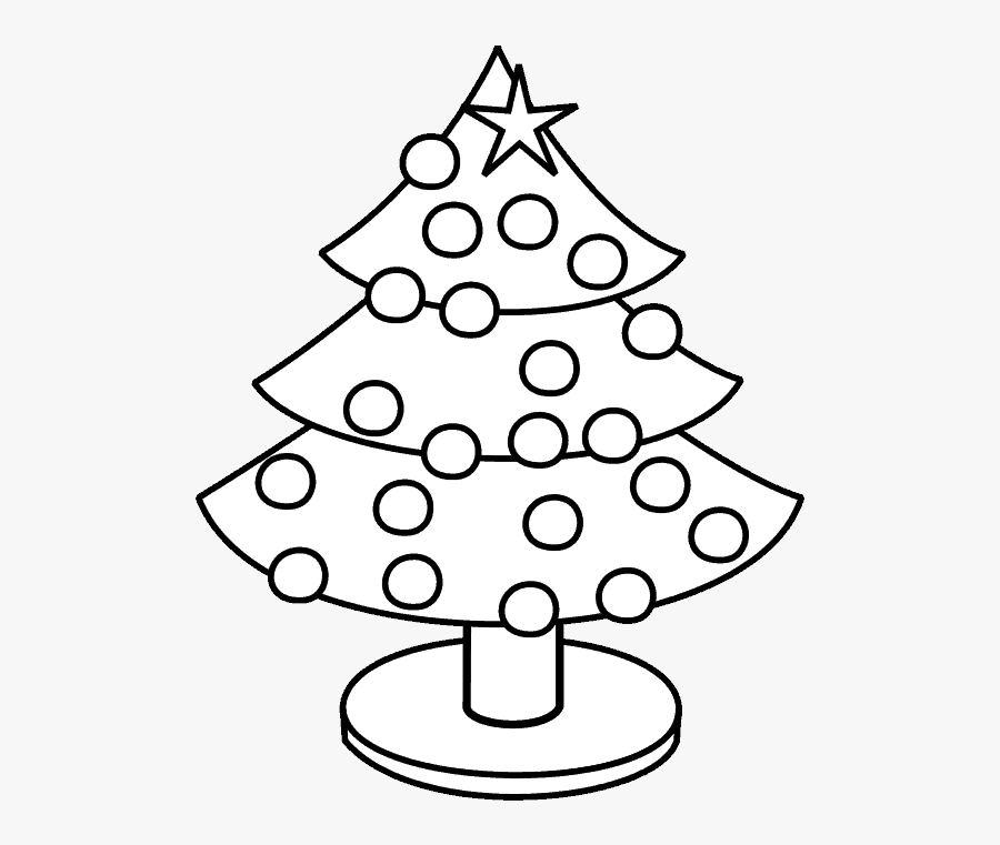Christmas Tree Coloring Page - Make Christmas Tree In Page, Transparent Clipart