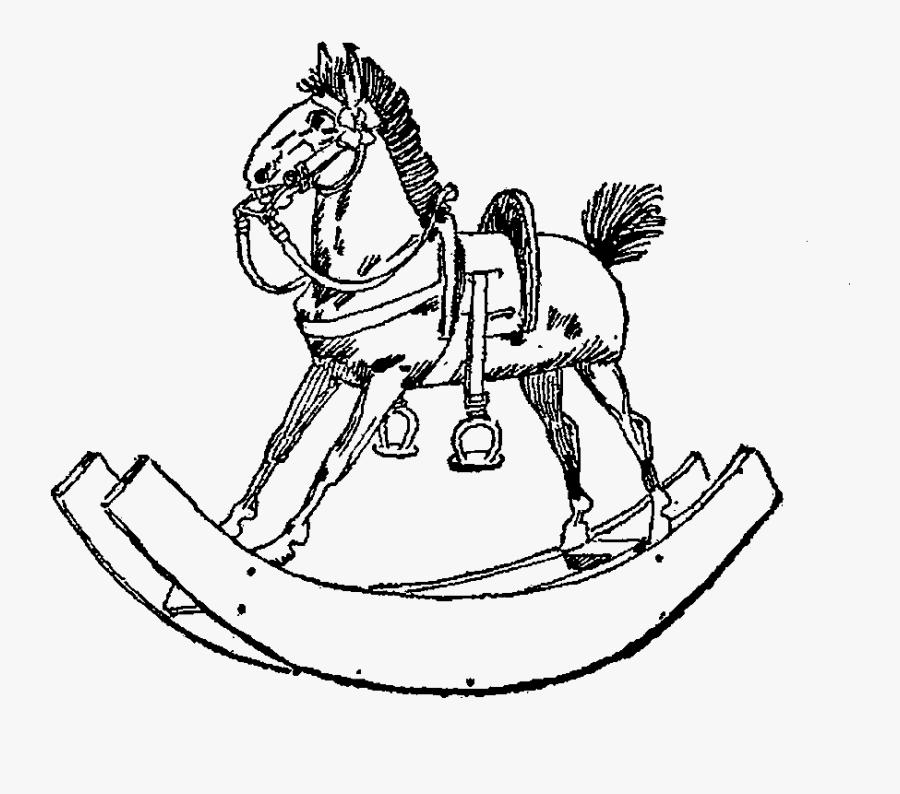 Toy Rocking Horse Vintage Image - Vintage Toy Illustration, Transparent Clipart