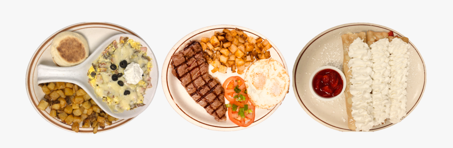 Eggs, Steak, Hashbrowns, And Crepes - Grillades, Transparent Clipart