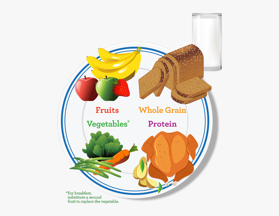 Plate With Food Groups, Transparent Clipart