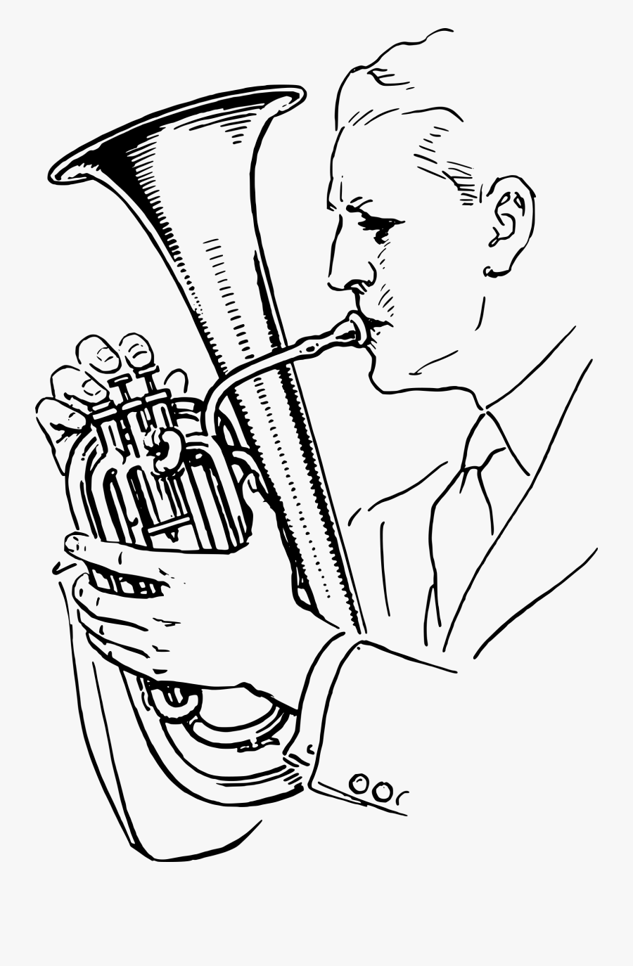 Man Playing Alto Horn Clip Arts - Draw A Man Playing The Trumpet, Transparent Clipart
