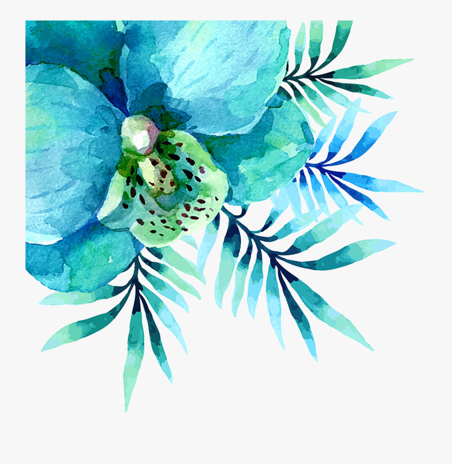 Teal Watercolor Flowers Png, Transparent Clipart