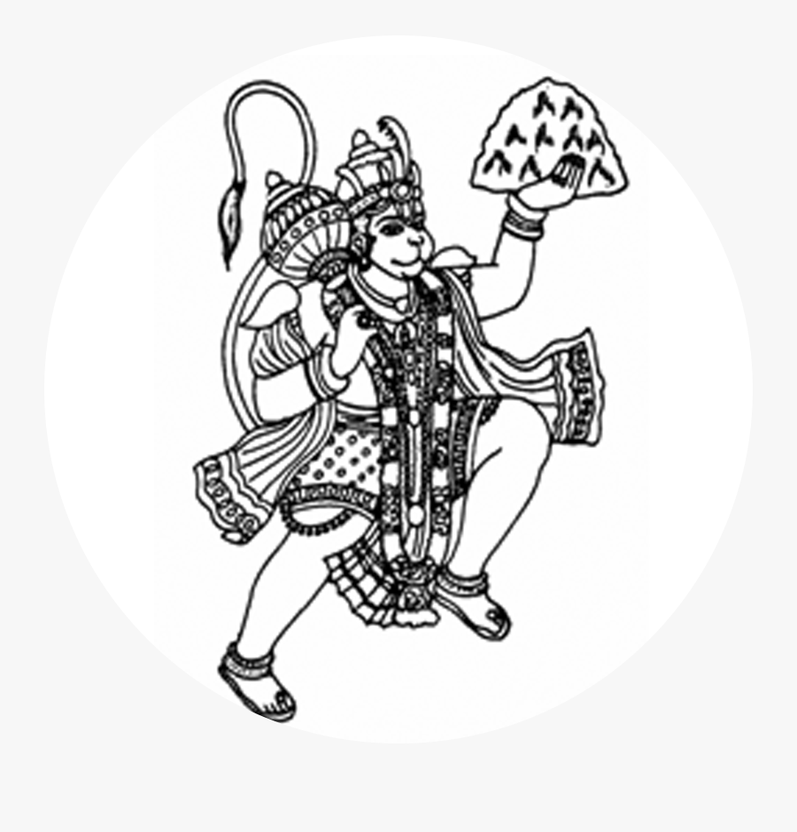 Hanuman Black And White, Transparent Clipart