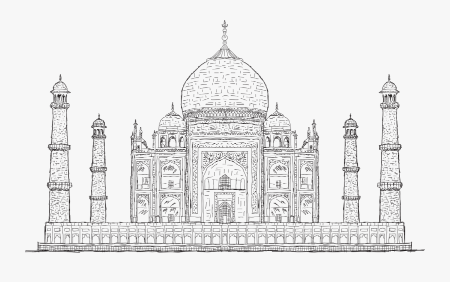 Black And White Drawing Of Taj Mahal - Black And White Drawing Of The Taj Mahal, Transparent Clipart