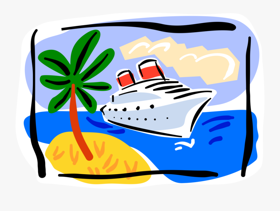 Vector Illustration Of Cruise Ship Or Cruise Liner - Cruise Vacation Clip Art, Transparent Clipart