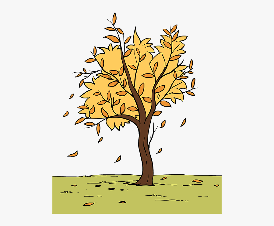 How To Draw Fall Tree - Easy Drawing Of Autumn Season, Transparent Clipart