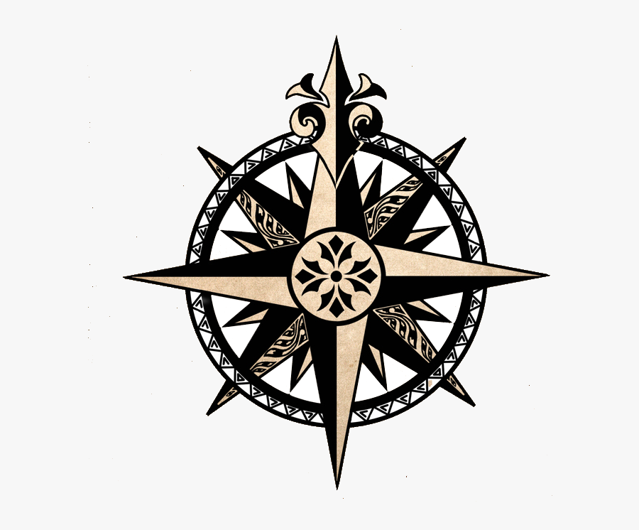 Compass Clipart Distressed Transparent Free For Png - Compass Rose Pirate Tattoo, Transparent Clipart