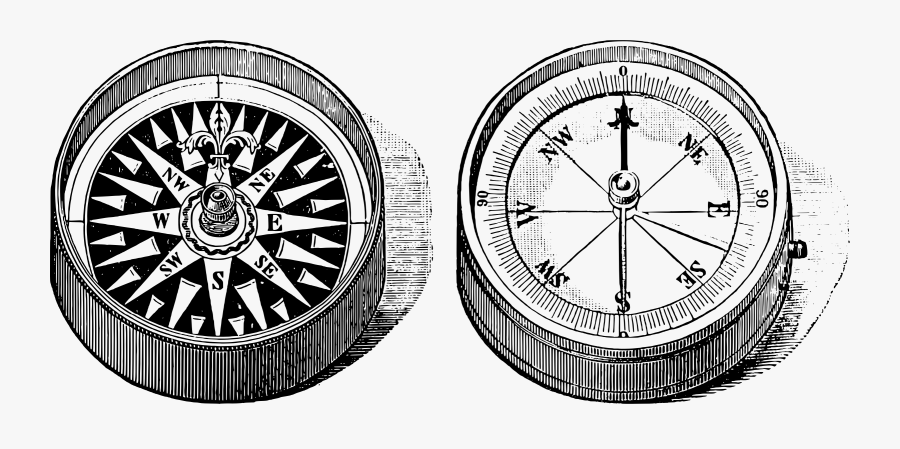Old Compass Clip Arts - Drawing Compass And Rose Black And Grey, Transparent Clipart