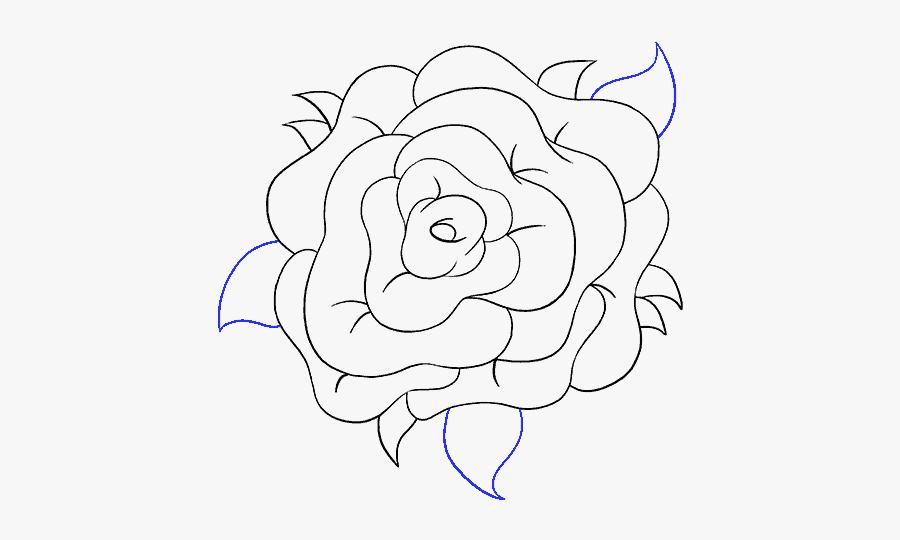 Clip Art How To Draw A - Rose Flower Transparent Draw, Transparent Clipart