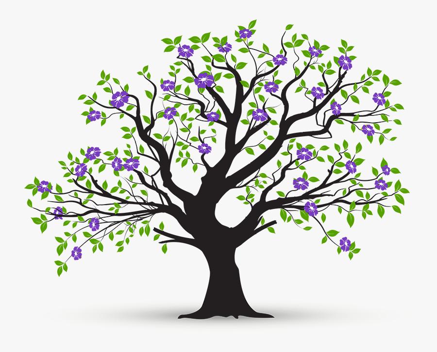 Tree,branch,plant,woody Art,plant - Arbol Con Ramas Y Hojas, Transparent Clipart