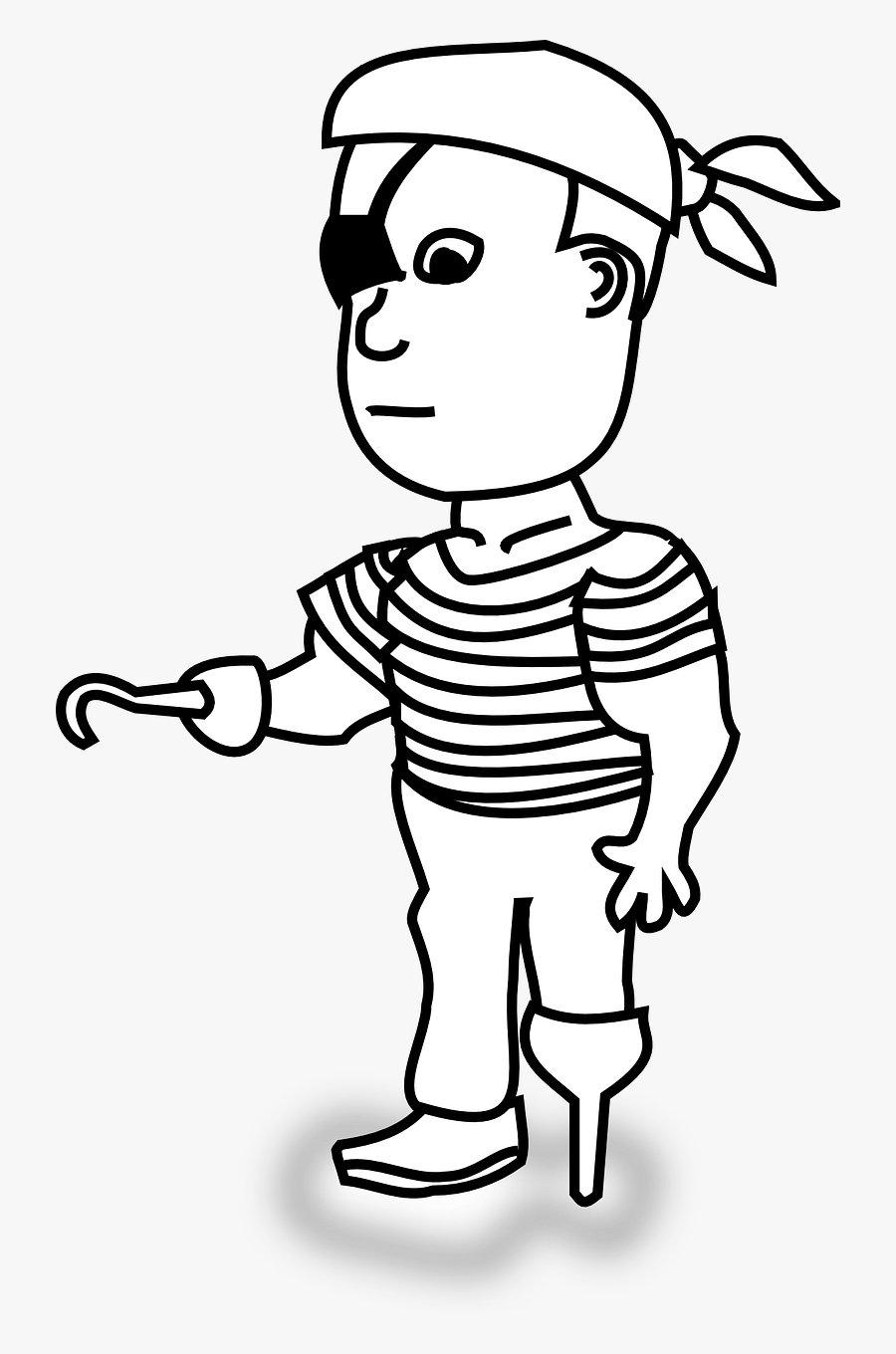 Pirate,man,peg Leg,hook,hand,eye Patch,free Vector - Outline Of A Pirate, Transparent Clipart